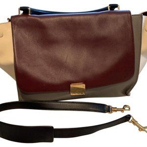 Celine Trapeze Maroon and Beige Leather Satchel